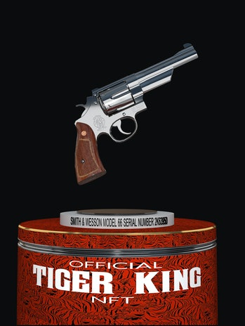 3D NFT rendering of Joe Exotic's pistol from Tiger King for NFT auction