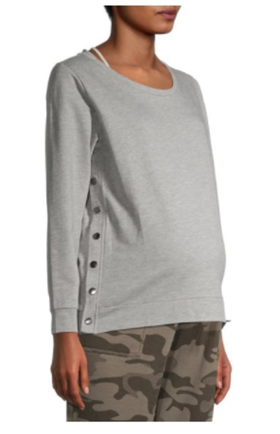 Maternity Sweatshirt with Side Button Snaps