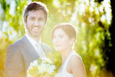 Actor Andrew Burlinson at his wedding to Meredith Bishop.