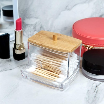 Nagu Acrylic Cotton Swap and Toothpick Dispenser with Bamboo Lid