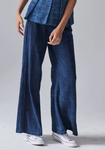 Indigo Wide-Leg Long Pants