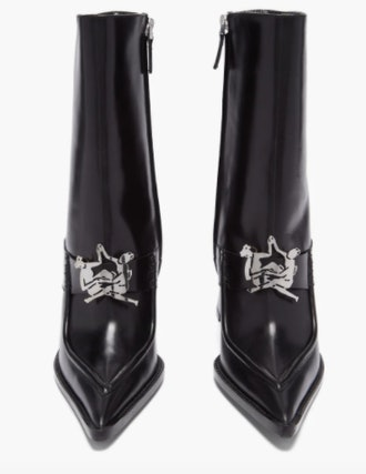 Thebe Magugu Sunday Best Logo-Plaque Leather Ankle Boots