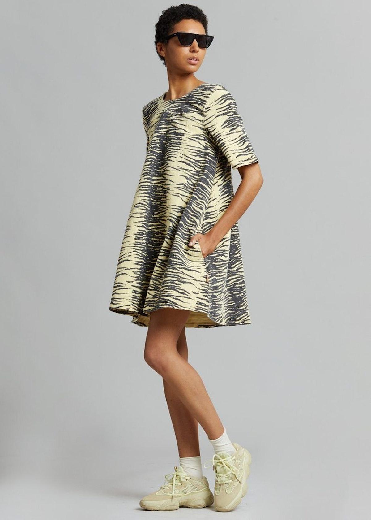 Print Denim Dress in Pale Banana