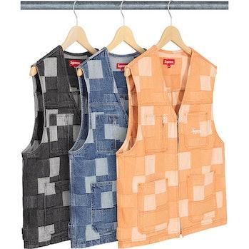 Supreme denim patchwork vest