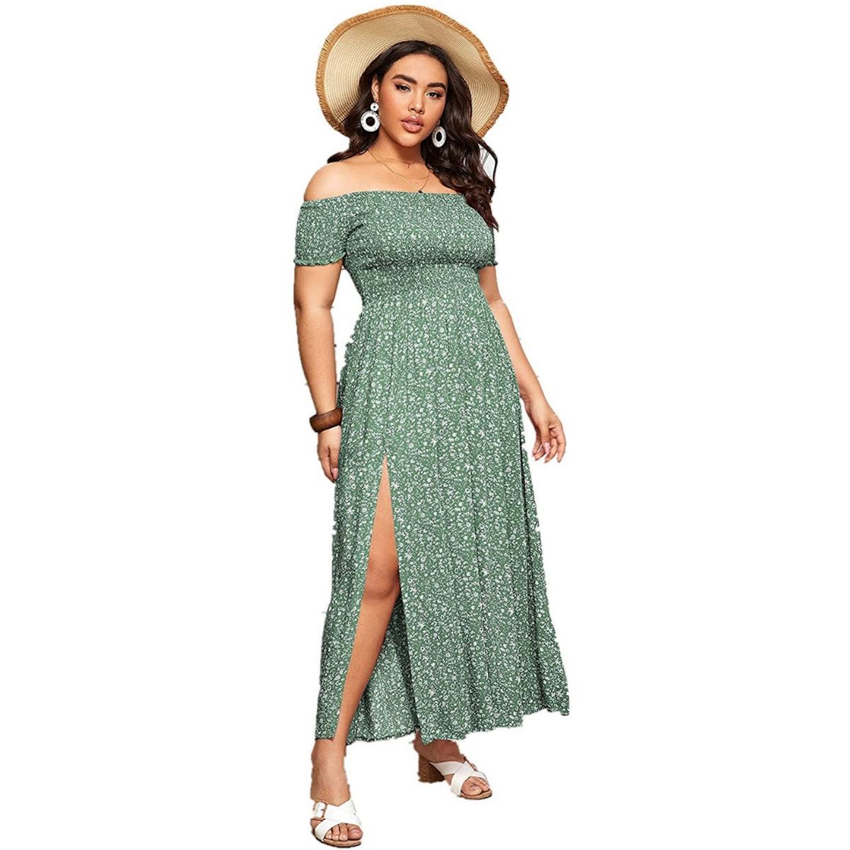 Floerns Off Shoulder Split Long A Line Dress