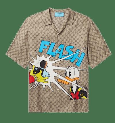 Gucci + Disney Camp-Collar Printed Silk Shirt