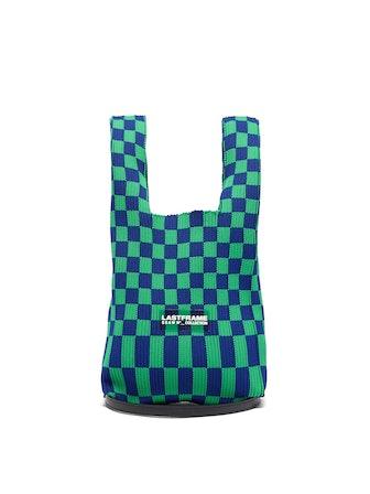 Small Ichimatsu-Check Rib-Knit Tote Bag