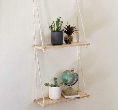 BASE ROOTS Hanging Shelves for Wall with Rope