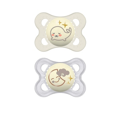 MAM Night Pacifiers (2 Pack, 1 Sterilizing Pacifier Case)