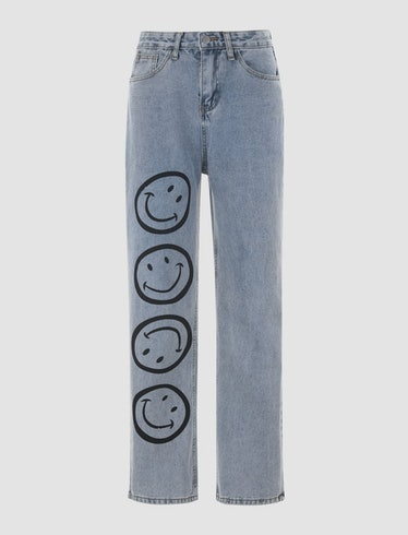 Face Print Straight Jeans