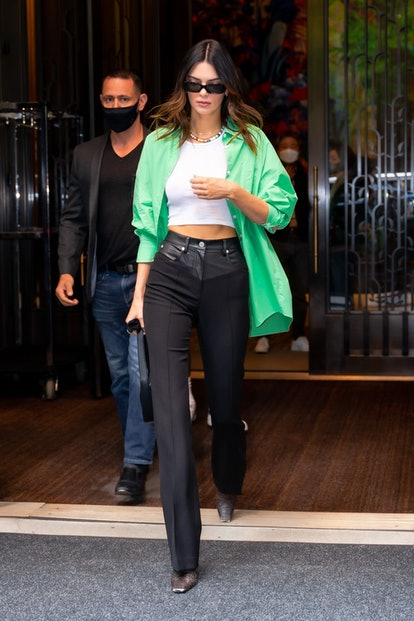 Kendall Jenner leaving the Four Seasons Hotel in New York in 2021.