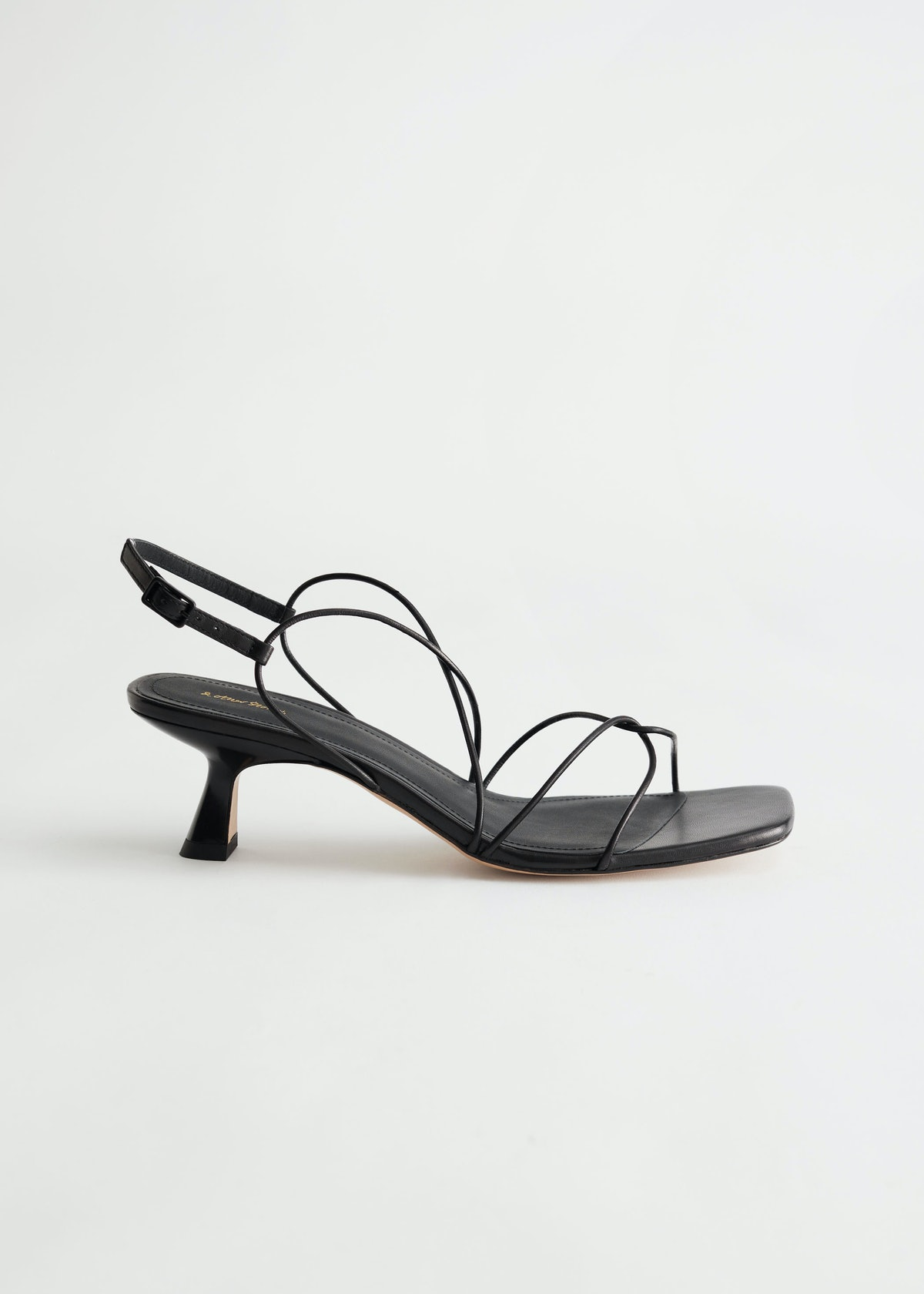 Leather Squared Toe Heeled Sandals