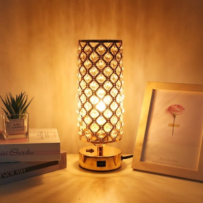 Ambimall Gold Table Lamp with Charging Port
