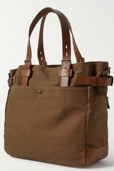 Belstaff Touring Leather-Trimmed Canvas Tote Bag