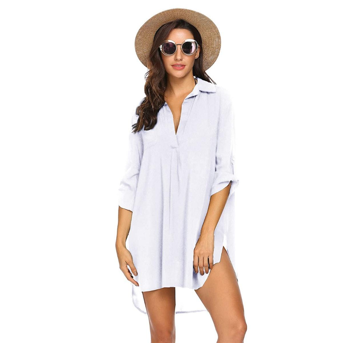 Ekouaer Beach Cover Up Shirt Dress