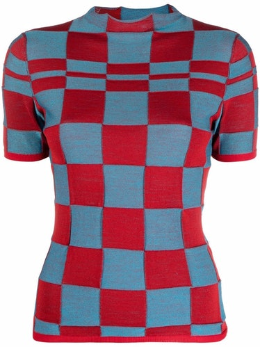 Checkered Mock-Neck Knitted Top