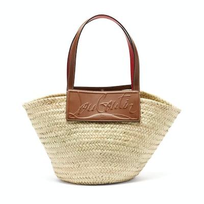Christian Louboutin Leather-Trim Woven Straw Basket Bag