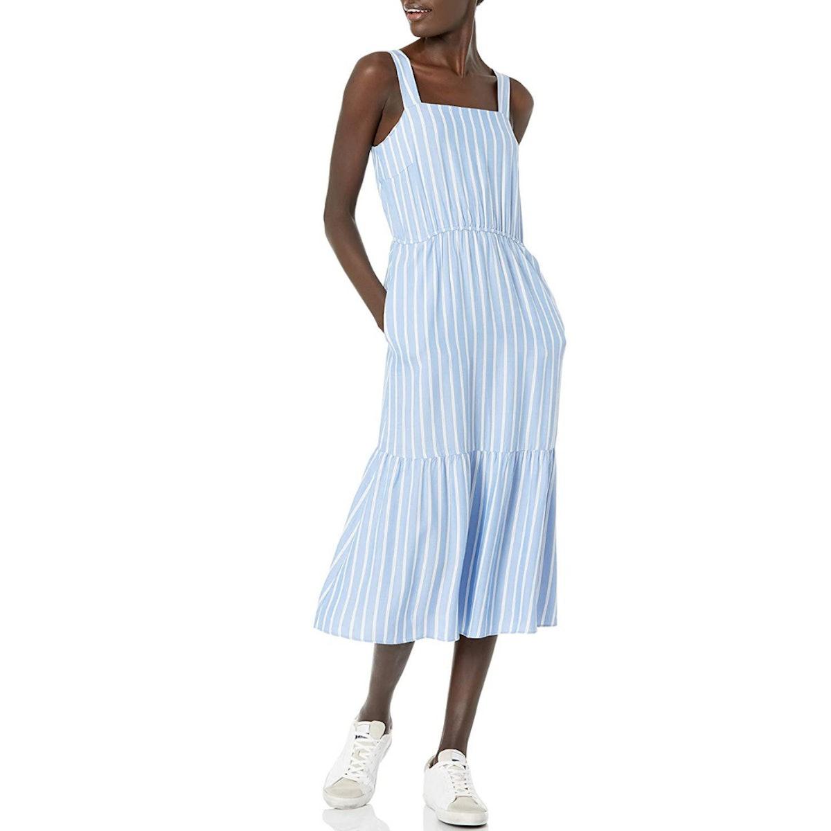Amazon Essentials Fluid Twill Tiered Midi Summer Dress