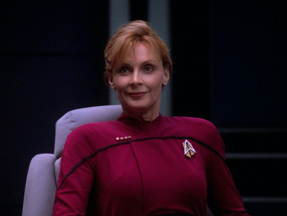 """Captain Beverly Picard, from an alternate future in TNG's finale, """"All Good Things..."""""""