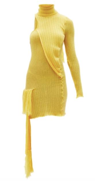Thebe Magugu  Roll-Neck One-Shoulder Wool-Blend Mini Dress
