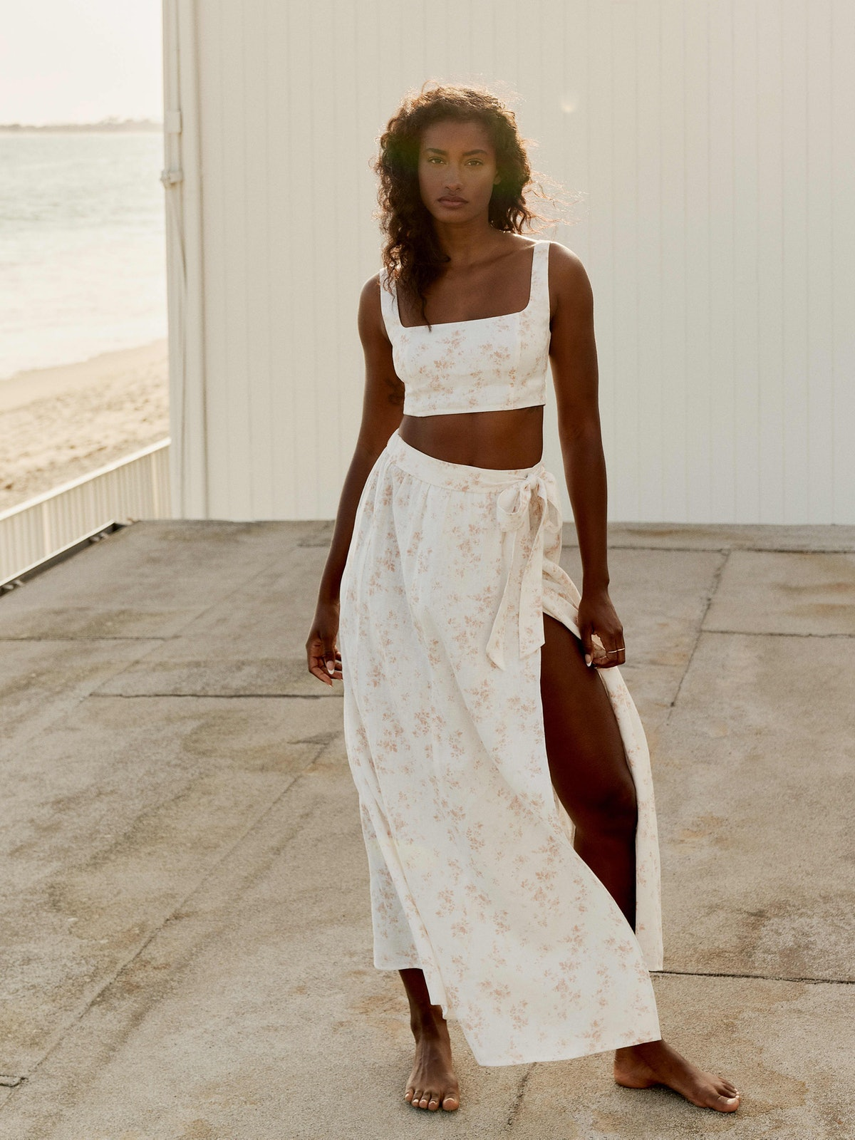 Palm Linen Two-Piece in Riso