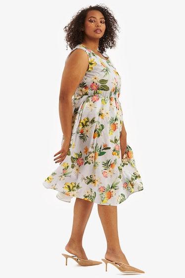"""""""Michelle"""" Dress Baby Blue Floral Linen"""