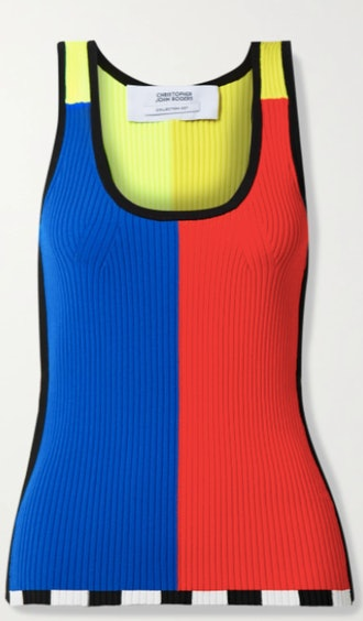 Christopher John Rogers Color-Block Ribbed-Knit Tank