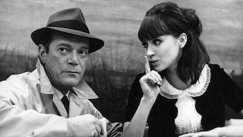 Eddie Constantine and Anna Karina in Alphaville