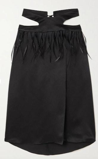 Maximilian Tasseled Cutout Hammered Silk-Satin Skirt
