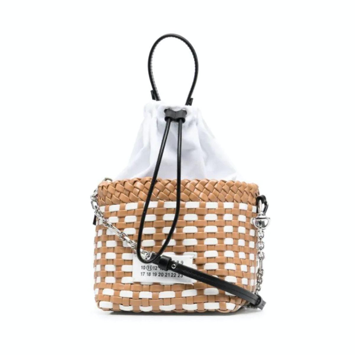 Maison Margiela Woven Logo-Patch Bucket Bag