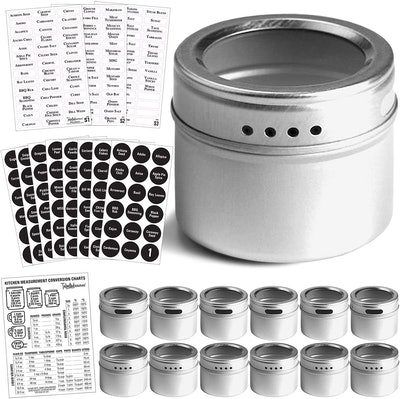Talented Kitchen 12 Magnetic Spice Tins