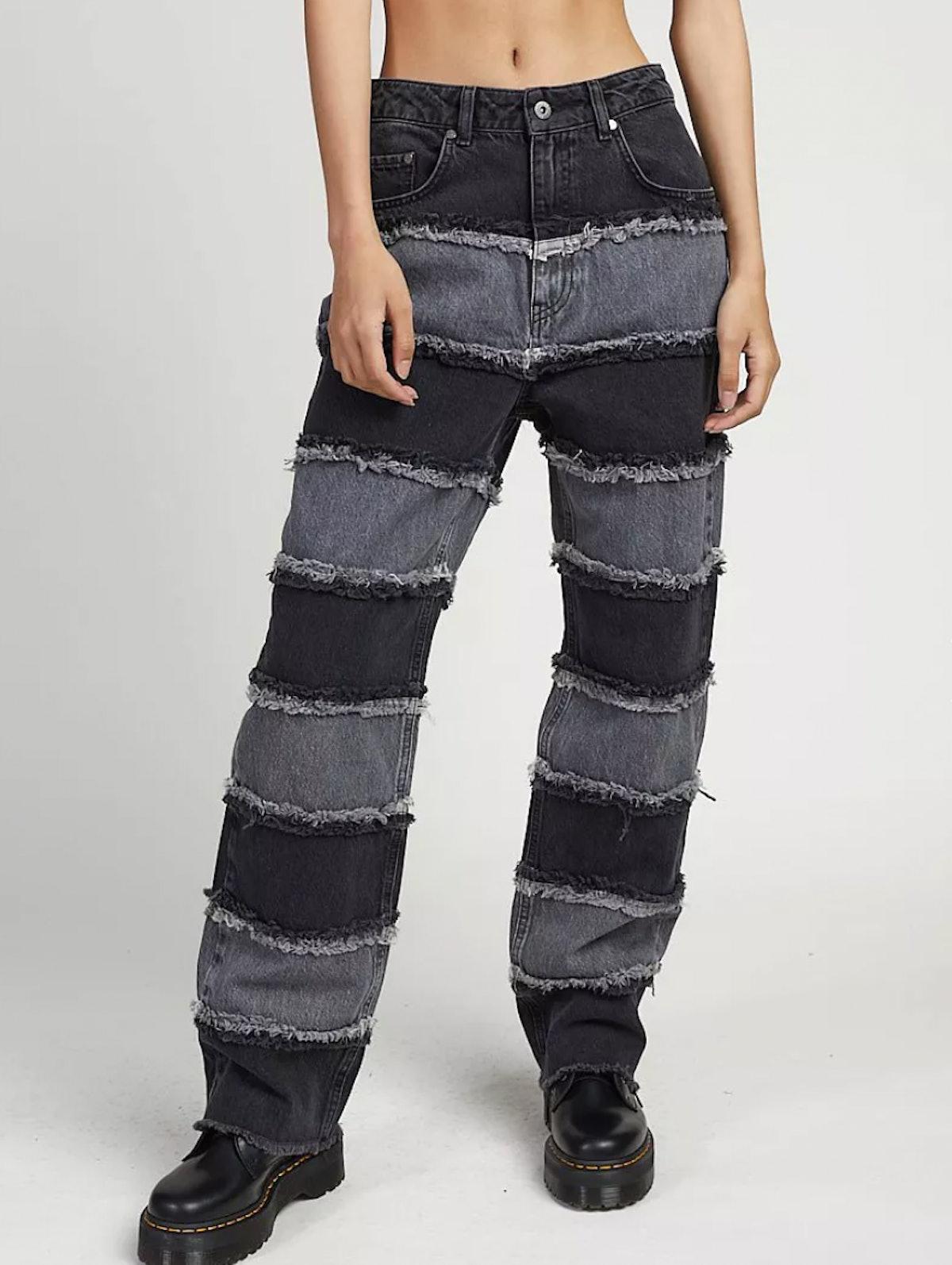 The Ragged Priest High Waist Jeans in Patchwork Stripe Denim