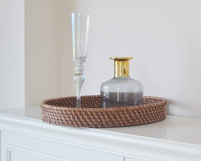 Round Rattan Woven Serving Tray