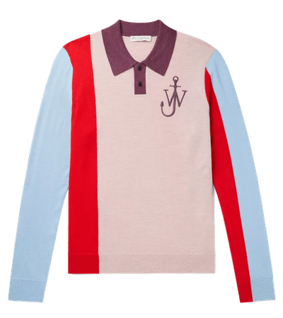 JW Anderson Logo-Embroidered Colour-Block Wool Polo Shirt
