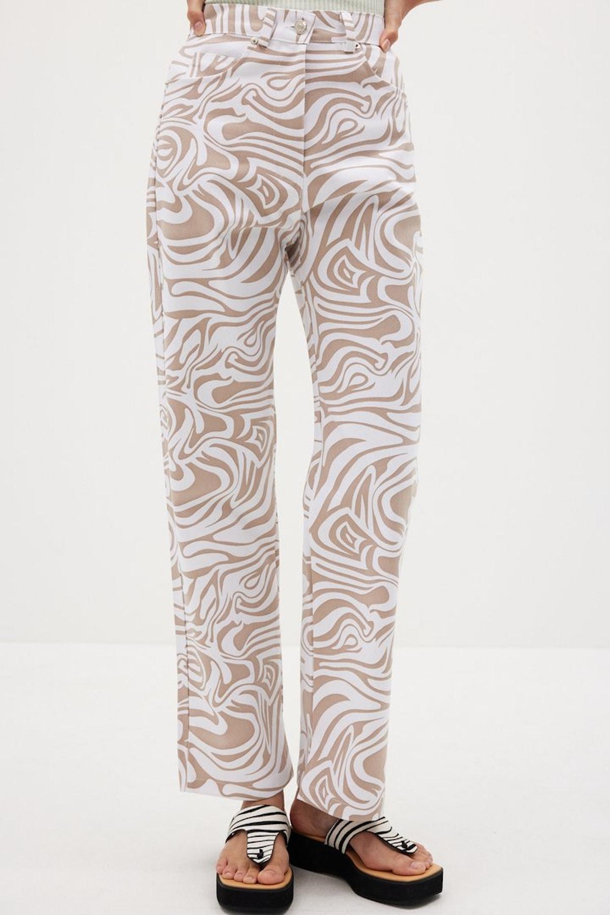 Ocean Wave Printed Pants in Clay