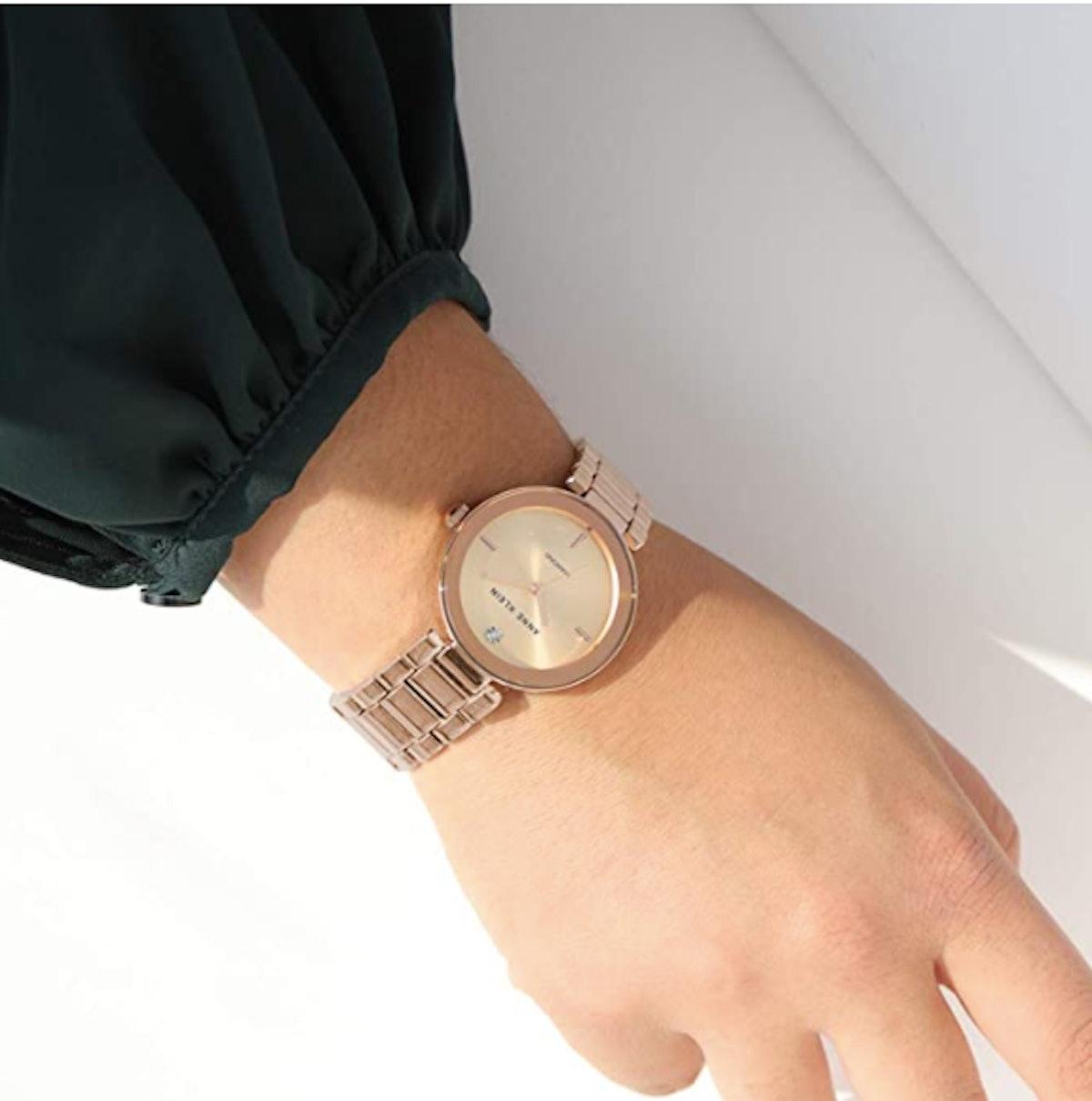 Anne Klein Diamond-Accented Bracelet Watch