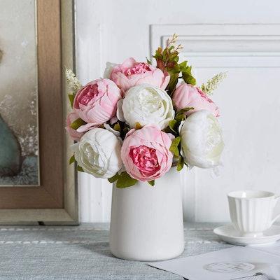 Queen Bee Silk Peony Bouquet with Ceramic Vase