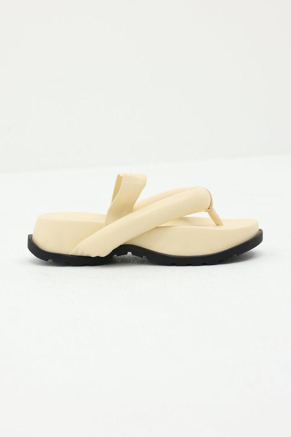 Padded Oversized Thong Sandals in Buttercream