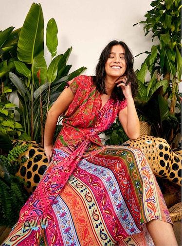 Colorful Bandana Waist Binding Midi Dress
