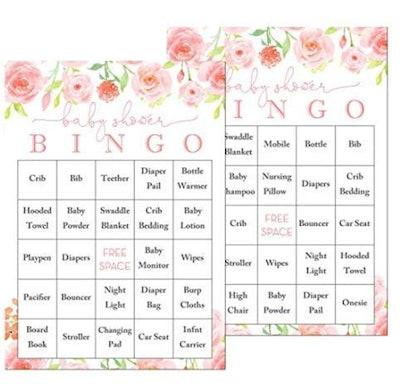 InvitationHouse Pink Floral Baby Shower Bingo Cards