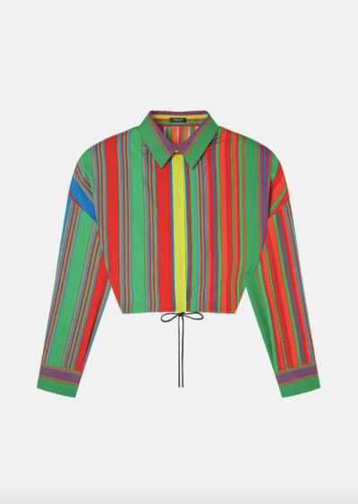 GV Pinstripe Print Cropped Shirt