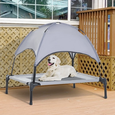 PawHut Elevated Portable Dog Cot Cooling Pet Bed With UV Protection Canopy Shade