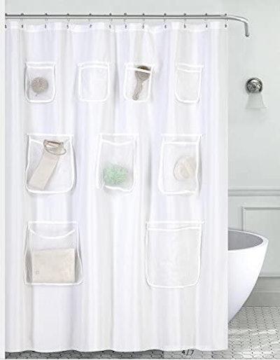 Mrs Awesome Storage Pocket Shower Curtain
