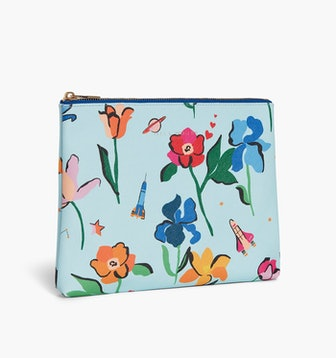 The Pouch in Light Blue Space Floral