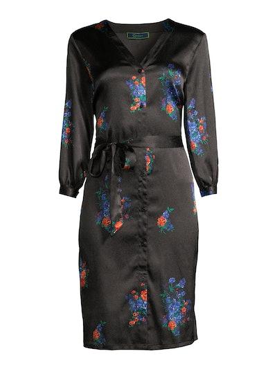 Button Front Tie Waist Dress