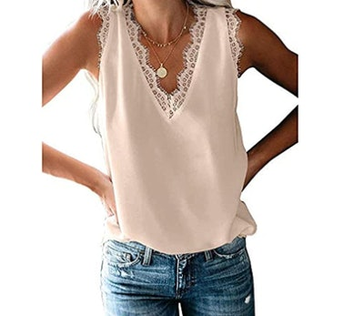 HARHAY Neck Lace Trim Casual Tank Tops