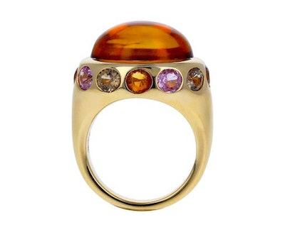 Brent Neale Dark Orange Citrine and Sapphire Ring