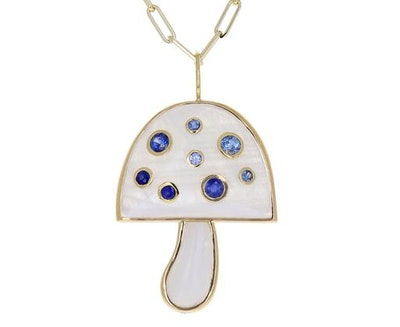 Brent Neale Moonstone and Blue Sapphire Magic Mushroom Necklace