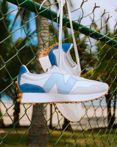 Blue and white sneaker from the New Balance x STAUD collaboration.