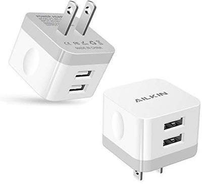 AILKIN Dual Port USB Wall Charger 2-Pack)